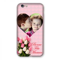 Coque Pour Iphone 6 / 6s Personnalisee Fete Des Meres Coeurs Roses