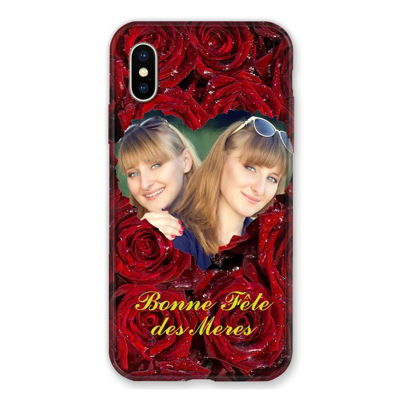 Coque Pour Iphone X / XS Personnalisee Fete Des Meres Roses Rouges