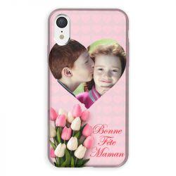 Coque Pour Iphone XR Personnalisee Fete Des Meres Coeurs Roses