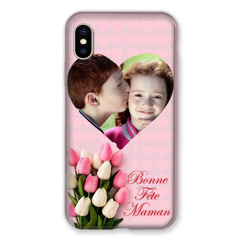 Coque Pour Iphone XS Max Personnalisee Fete Des Meres Coeurs Roses