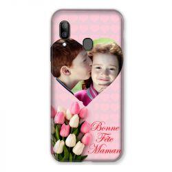Coque Pour Samsung Galaxy A20e Personnalisee Fete Des Meres Coeurs Roses