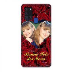 Coque Pour Samsung Galaxy A21S Personnalisee Fete Des Meres Roses Rouges
