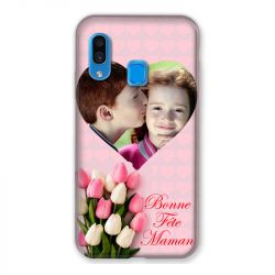 Coque Pour Samsung Galaxy A40 Personnalisee Fete Des Meres Coeurs Roses