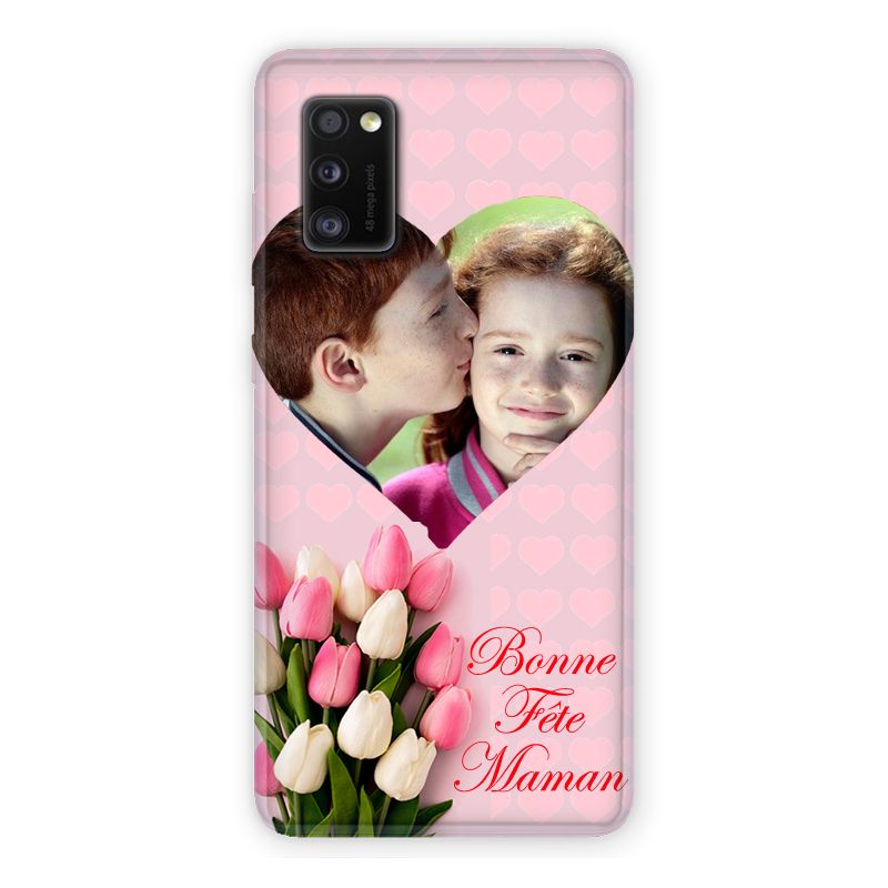 Coque Pour Samsung Galaxy A41 Personnalisee Fete Des Meres Coeurs Roses