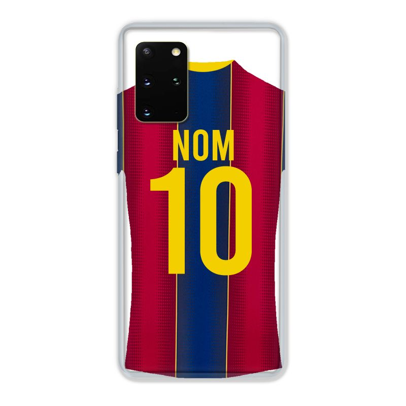 Coque Pour Samsung Galaxy S20 Plus Personnalisee Maillot Football FC Barcelone