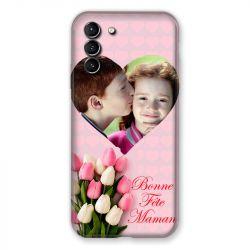 Coque Pour Samsung Galaxy S21 Plus Personnalisee Fete Des Meres Coeurs Roses