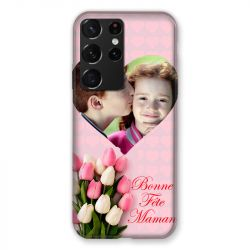 Coque Pour Samsung Galaxy S21 Ultra Personnalisee Fete Des Meres Coeurs Roses
