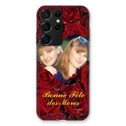 Coque Pour Samsung Galaxy S21 Ultra Personnalisee Fete Des Meres Roses Rouges