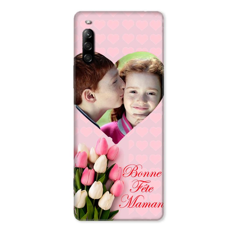 Coque Pour Sony Xperia L4 Personnalisee Fete Des Meres Coeurs Roses