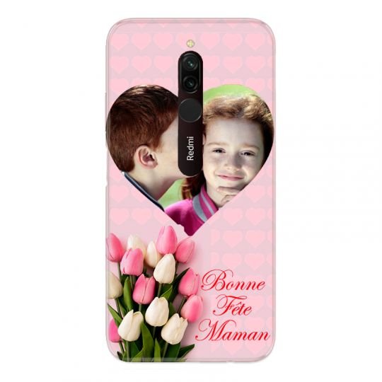 Coque Pour Xiaomi Redmi 8 Personnalisee Fete Des Meres Coeurs Roses