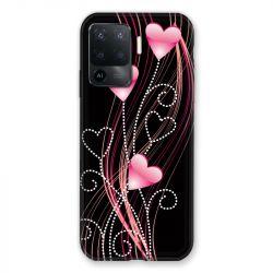 Coque Pour Oppo A94 5G Coeur Rose Montant sur Noir