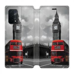 Housse cuir portefeuille Pour Oppo A54 5G / A74 5G Angleterre London Bus