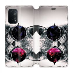 Housse cuir portefeuille Pour Oppo A54 5G / A74 5G Chat Fashion