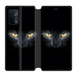 Housse cuir portefeuille Pour Oppo A54 5G / A74 5G Chat Noir