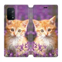 Housse cuir portefeuille Pour Oppo A54 5G / A74 5G Chat Violet