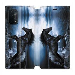 Housse cuir portefeuille Pour Oppo A54 5G / A74 5G Cheval Noir