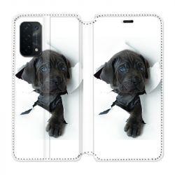 Housse cuir portefeuille Pour Oppo A54 5G / A74 5G Chien Noir