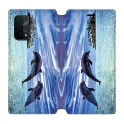 Housse cuir portefeuille Pour Oppo A54 5G / A74 5G Dauphin Ile