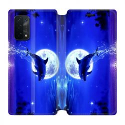 Housse cuir portefeuille Pour Oppo A54 5G / A74 5G Dauphin Lune