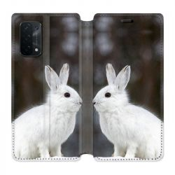 Housse cuir portefeuille Pour Oppo A54 5G / A74 5G Lapin Blanc