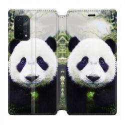 Housse cuir portefeuille Pour Oppo A54 5G / A74 5G Panda Color