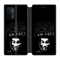Housse cuir portefeuille Pour Oppo A54 5G / A74 5G Anonymous I am free