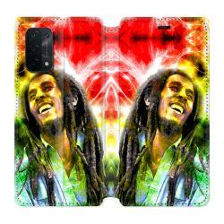 Housse cuir portefeuille Pour Oppo A54 5G / A74 5G Bob Marley Color