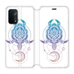 Housse cuir portefeuille Pour Oppo A54 5G / A74 5G Animaux Maori Tortue Color
