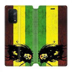 Housse cuir portefeuille Pour Oppo A54 5G / A74 5G Bob Marley Drapeau