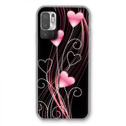Coque Pour Xiaomi Redmi Note 10 5G Coeur Rose Montant sur Noir