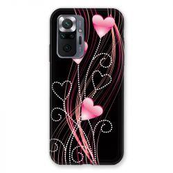 Coque Pour Xiaomi Redmi Note 10 Pro 5G Coeur Rose Montant sur Noir