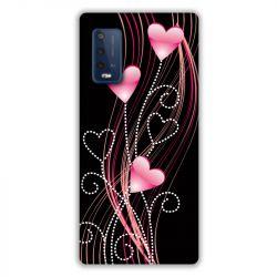 Coque Pour Wiko Power U10 / U20 Coeur Rose Montant sur Noir