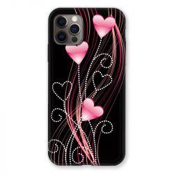 Coque Pour Iphone 13 (6.1) Coeur Rose Montant sur Noir