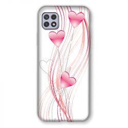 Coque Pour Samsung Galaxy A22 5G Coeur Rose Montant sur Blanc