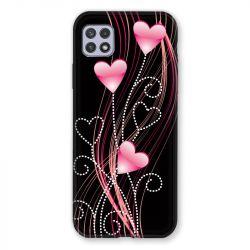 Coque Pour Samsung Galaxy A22 5G Coeur Rose Montant sur Noir
