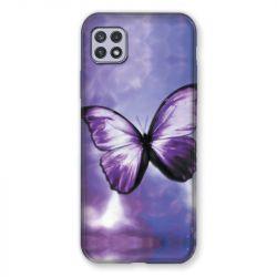 Coque Pour Samsung Galaxy A22 5G Papillon Violet et Blanc