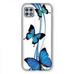 Coque Pour Samsung Galaxy A22 5G Papillon bleu sur Blanc