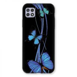 Coque Pour Samsung Galaxy A22 5G Papillon bleu sur Noir