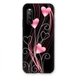 Coque Pour Sony Xperia 10 III (3) Coeur Rose Montant sur Noir