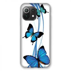 Coque Pour Xiaomi Mi 11 Lite 4G / 5G Papillon bleu sur Blanc