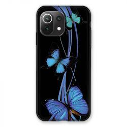 Coque Pour Xiaomi Mi 11 Lite 4G / 5G Papillon bleu sur Noir