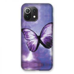 Coque Pour Xiaomi Mi 11 Lite 4G / 5G Papillon Violet et Blanc