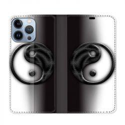 Housse Cuir Portefeuille Pour Iphone 13 Pro Max Yin Yang 3d