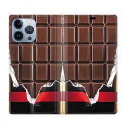 Housse Cuir Portefeuille Pour Iphone 13 Pro Max Trompe Oeil Chocolat