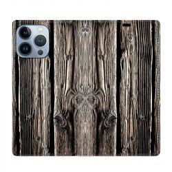 Housse Cuir Portefeuille Pour Iphone 13 Pro Max Texture Bois