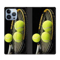 Housse Cuir Portefeuille Pour Iphone 13 Pro Max Tennis Balls