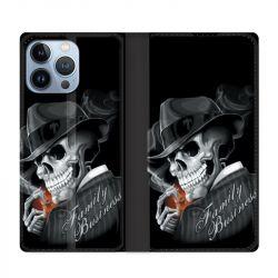 Housse Cuir Portefeuille Pour Iphone 13 Pro Max Tete de Mort family business