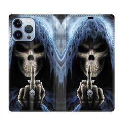 Housse Cuir Portefeuille Pour Iphone 13 Pro Max Tete de Mort Doigt