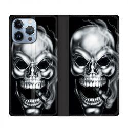 Housse Cuir Portefeuille Pour Iphone 13 Pro Max Tete de Mort Fume