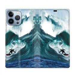 Housse Cuir Portefeuille Pour Iphone 13 Pro Max Surf Vague